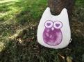 植物染紫色貓頭鷹抱枕(愛心眼睛)