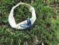 Indigo-dyed butterfly headband